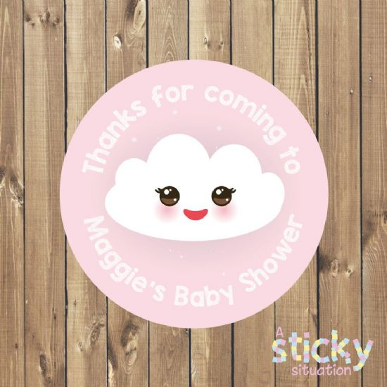 Personalised Baby Shower Stickers - Kawaii Cloud Design - Pink
